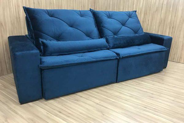 Sofá Retrátil 2.30 m - Modelo Omega - Azul 506