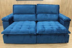 Sofá Retrátil 2.30 m - Modelo Vergas - Azul 325