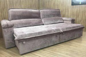 Sofá Retrátil 2.30 m - Modelo Vergas - Rose Claro 326