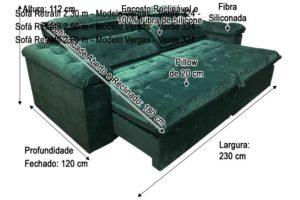 Sofá Retrátil 2.30 m - Modelo Vergas - Verde 324