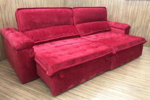 Sofá Retrátil 2.30 m - Modelo Vergas - Vermelho 327
