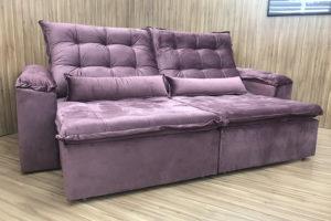 Sofá Retrátil 2.50 m - Modelo Rafaele - Rose Escuro 329