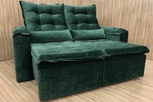 Sofá Retrátil 2.50 m - Modelo Rafaele - Verde 324
