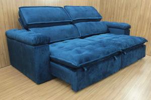 Sofá Retrátil 2.50 m - Modelo Vergas - Azul 325