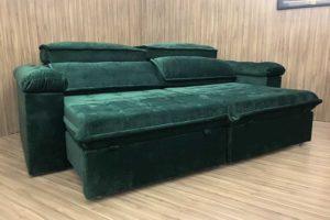 Sofá Retrátil 2.50 m - Modelo Vergas - Verde 324