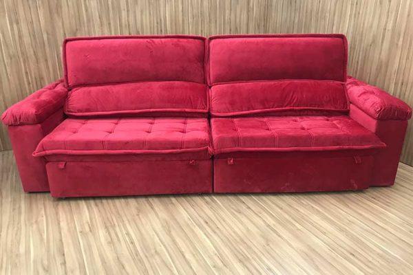 Sofá Retrátil 2.50 m - Modelo Vergas - Vermelho 327