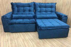 Sofá Retrátil 2.90 m - Modelo Fernanda - Azul 325