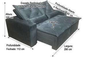 Sofá Retrátil 2.90 m - Modelo Portela - Cinza 502