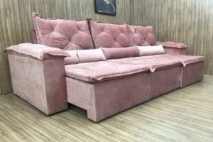 Sofá Retrátil 2.90 m - Modelo Quintela - Rosa Claro 508
