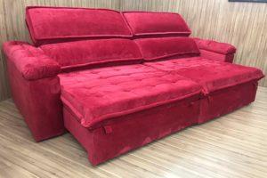 Sofá Retrátil 2.90 m - Modelo Vergas - Vermelho 327