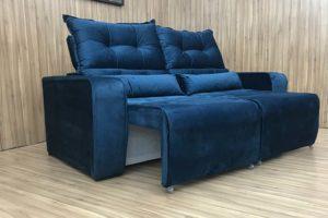 Sofá Retrátil Azul 1.80 m de Largura - Modelo Alice