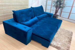 Sofá Retrátil Azul 1.80 m de Largura - Modelo Carioca