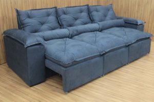 Sofá Retrátil Azul 2.70 m de Largura - Modelo Athenas