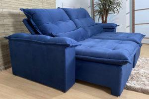 Sofá Retrátil Azul 2.00 m de Largura - Modelo Lotus