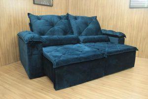 Sofá Retrátil Azul 2.30 m de Largura - Modelo Bettoni
