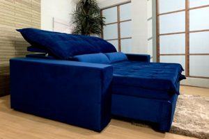 Sofá Retrátil Azul 2.30 m de Largura - Modelo Nairóbi