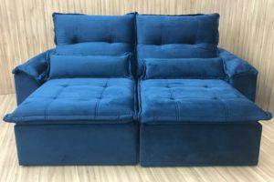 Sofá Retrátil Azul 2.30 m de Largura - Modelo Vision