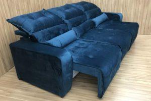 Sofá Retrátil Azul 2.50 m de Largura - Modelo Alice