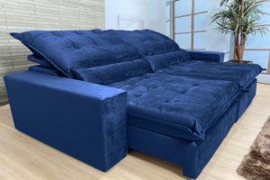 Sofá Retrátil Azul 2.50 m de Largura - Modelo Cairo