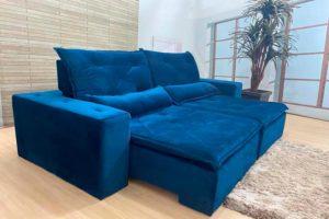 Sofá Retrátil Azul 2.50 m de Largura - Modelo Niterói