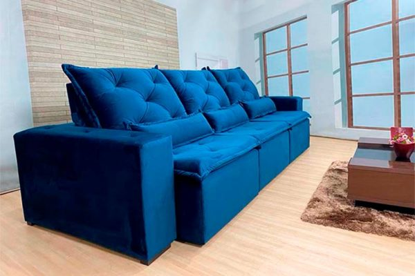 Sofá Retrátil Azul 2.90 m de Largura - Modelo Delta