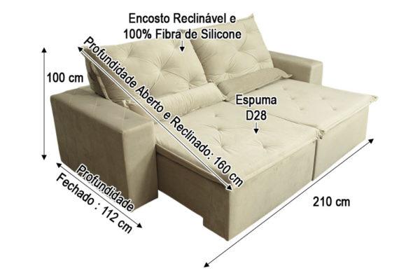 Sofá Retrátil Bege 2.10 m de Largura - Modelo Esplendor