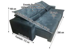 Sofá Retrátil Cinza 2.90 m de Largura - Modelo Delta