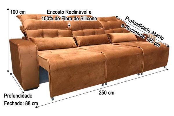 Sofá Retrátil Ferrugem 2.50 m de Largura - Modelo Alice