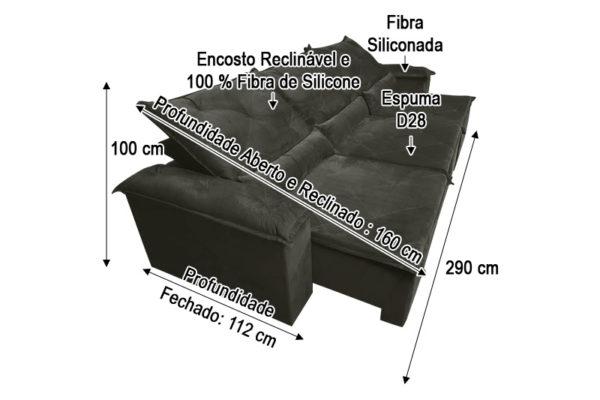 Sofá Retrátil Marrom 2.90 m de Largura - Modelo Quintela