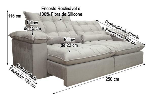 Sofá Retrátil Rose 2.50 m de Largura - Modelo Campinas