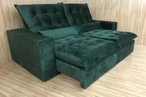Sofá Retrátil Verde 2.30 m de Largura - Modelo Laura