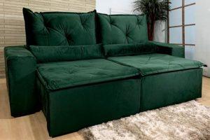 Sofá Retrátil Verde 2.30 m de Largura - Modelo Omega
