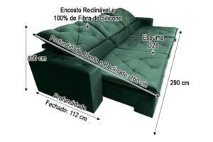 Sofá Retrátil Verde 2.90 m de Largura - Modelo Delta