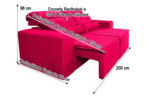 Sofá Retrátil Vermelho 2.00 m de Largura - Modelo Zeus