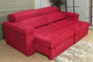 Sofá Retrátil Vermelho 2.30 m de Largura - Modelo Cancún