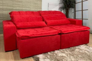 Sofá Retrátil Vermelho 2.30 m de Largura Modelo Imperio
