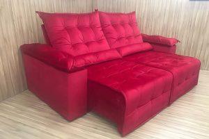 Sofá Retrátil Vermelho 2.30 m de Largura - Modelo Jacar