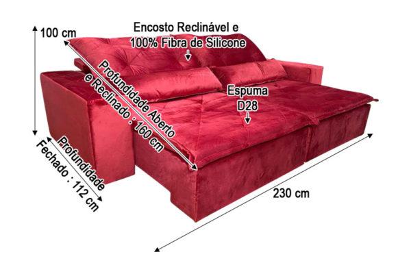 Sofá Retrátil Vermelho 2.30 m de Largura - Modelo Omega