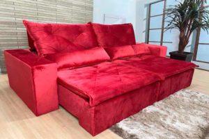 Sofá Retrátil Vermelho 2.50 m de Largura - Modelo Niterói