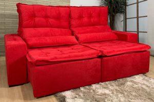 Sofá Retrátil Vermelho 2.50 m de Largura - Modelo Sandiego