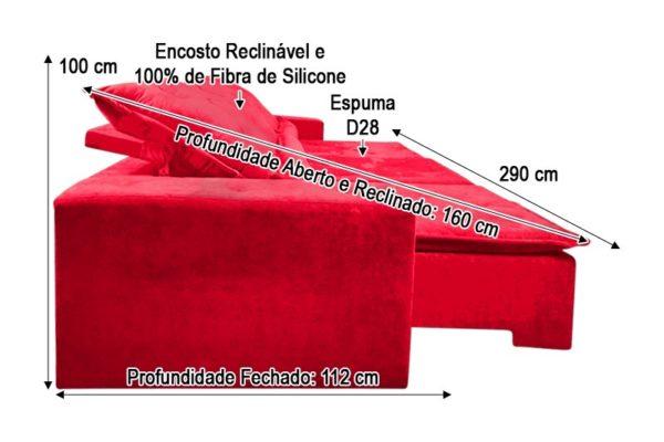 Sofá Retrátil Vermelho 2.90 m de Largura Modelo Delta