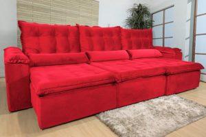 Sofá Retrátil Vermelho 3.20 m de Largura - Modelo Berlim