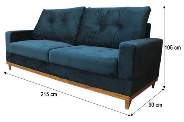 Sofá de 2 Lugares Azul 2,15 m de Largura - Modelo Milena