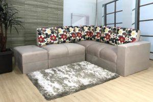 Sofa de Canto Bege com Floral Anetho (1)