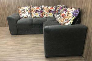Sofá de Canto - Modelo Belo - Marrom Claro com Floral 609-42